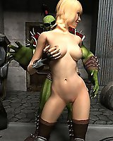 Orc fingers ass of a hot blonde from Fallout XXX