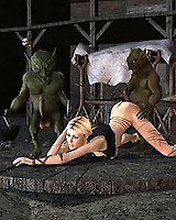 Hot blonde gang bang with goblins