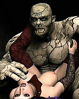 Sexy babe fucked by fearful Frankenstein monster