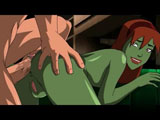 Justice league Porn video - How awkward of her! Sexy Green Mama gets a hard cock punishment for making the man`s T-shirt dirty.