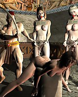 Masters torturing their sexy slaves in 3D