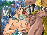 Slutty archer - Anime hero game - Naked big boobed bitch warrior makes a wonderful blowjob and titfucking at last.