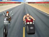 Lesbian Ride - Sophia got on her wheels to go to Daytona Bike Festival. You have to win the race betweeen two bikers. Move your mouse left and right t