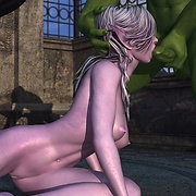 Elf gives green orc a blowjob