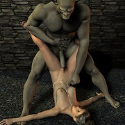 Horny monsters penetrate elf's holes