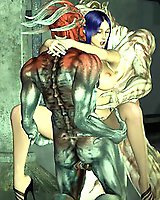 Sci-fi threesome monster porn