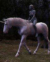 Naked elf and the beautiful unicorn