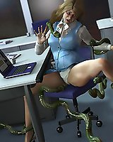 Clerk fucked by Tentacles