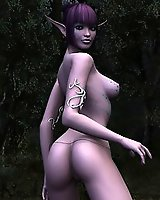 Naked elf girl in the forest - 3D Porn
