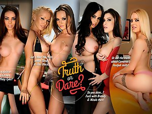 Play 'Truth or dare?' before hitting the clubs with your sexy pornstar friends! Hear their awesome arousing stories and tell yours � or dare them to do naughty things with you! Are you ready? Let's spin the bottle...!