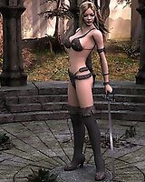 Warrior girl posing - 3D Porn