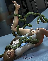 3D tentacle attacks women