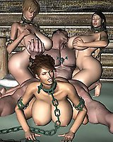 Brutal groupie with chained babes